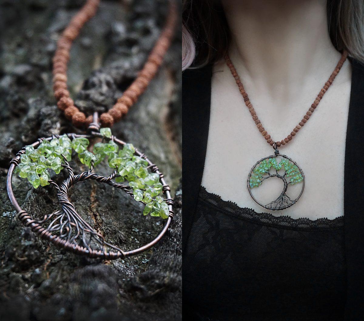 copacul vietii coliere handmade accesorii proprietati energetice pietre naturale ametist verde seminte rudraksha bijuterii