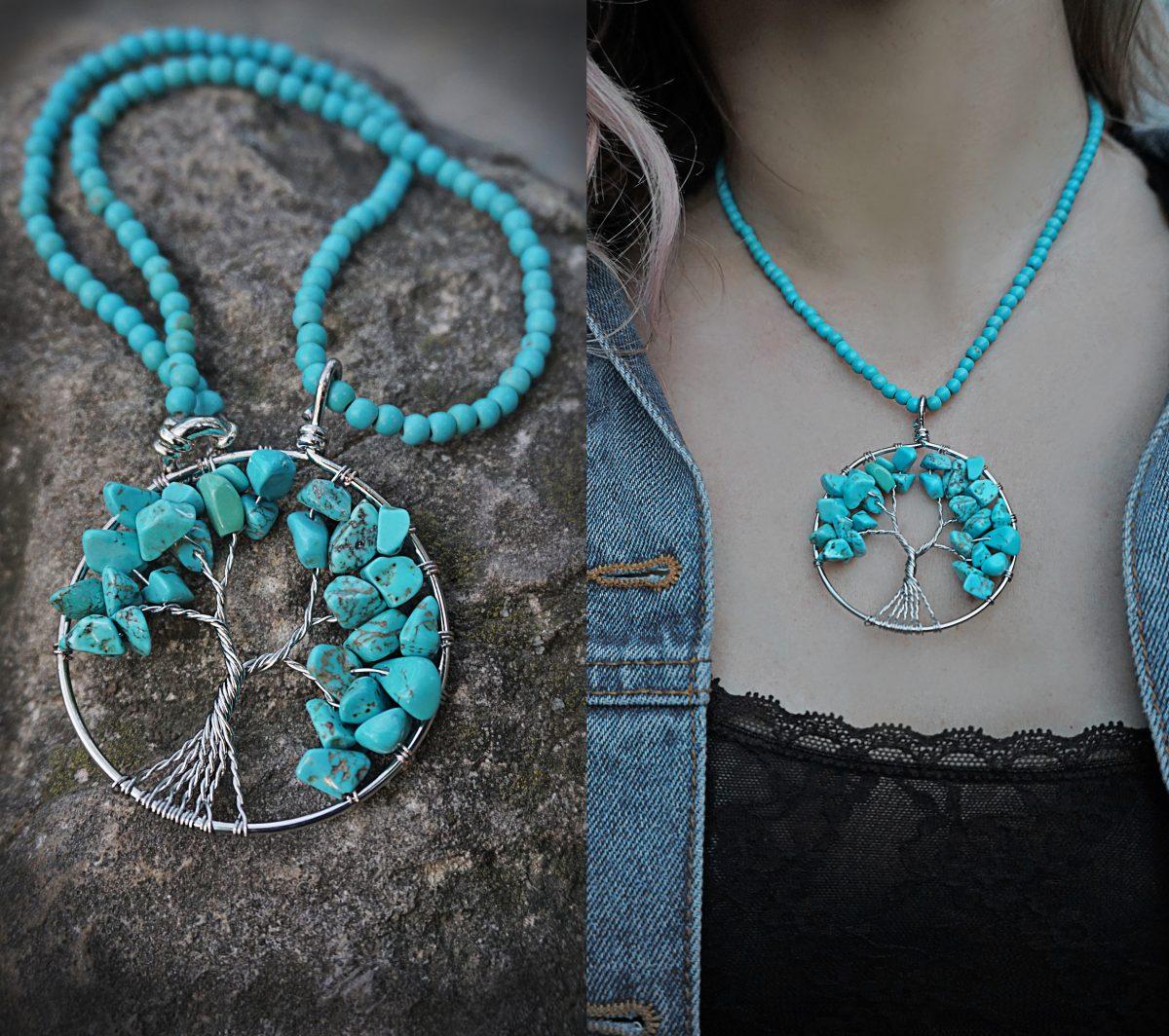 copacul vietii coliere handmade accesorii proprietati energetice pietre naturale turcoaz bijuterii