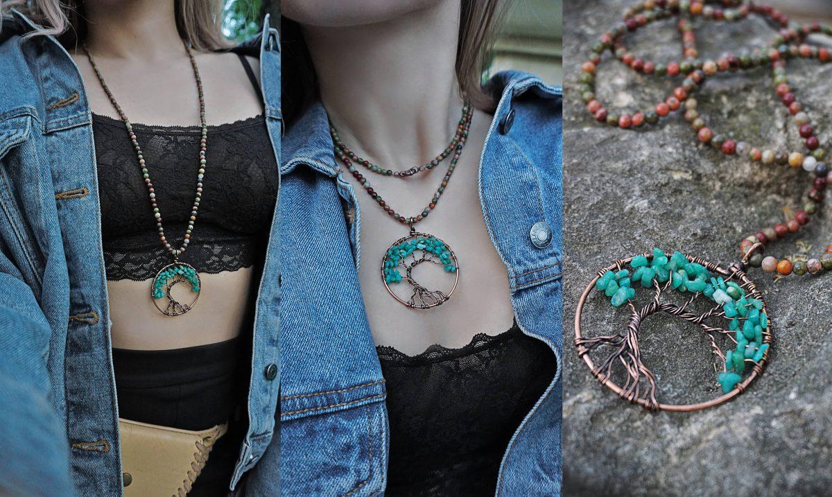 copacul vietii coliere handmade accesorii proprietati energetice pietre naturale riolit aventurin bijuterii